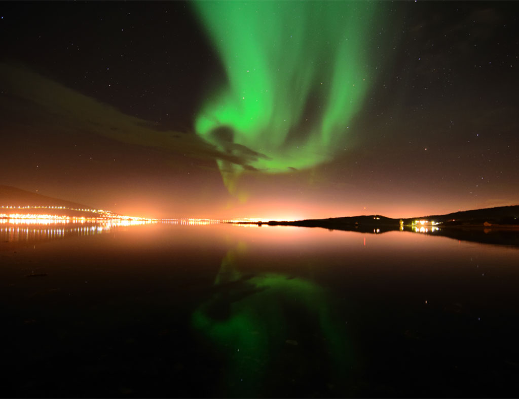 Lucky visitors can spot the northern lights
