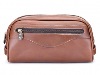 Stay stylish, even in the bathroom, with this tasty leather wash bag