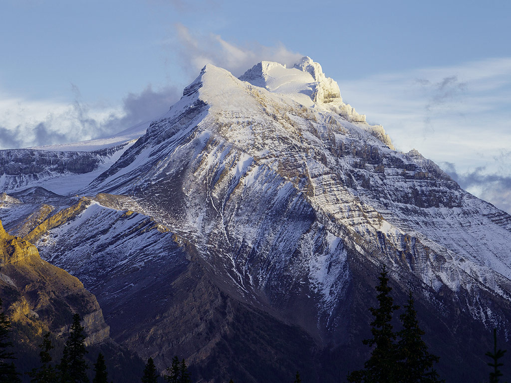 Snowcapped mountain peak in Canada