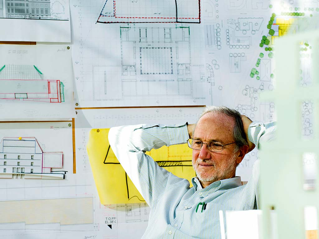 Renzo Piano architect in his studio