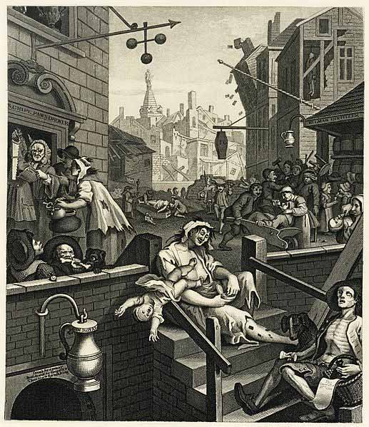 Hogarth's Gin Lane. Click on the image for a larger version