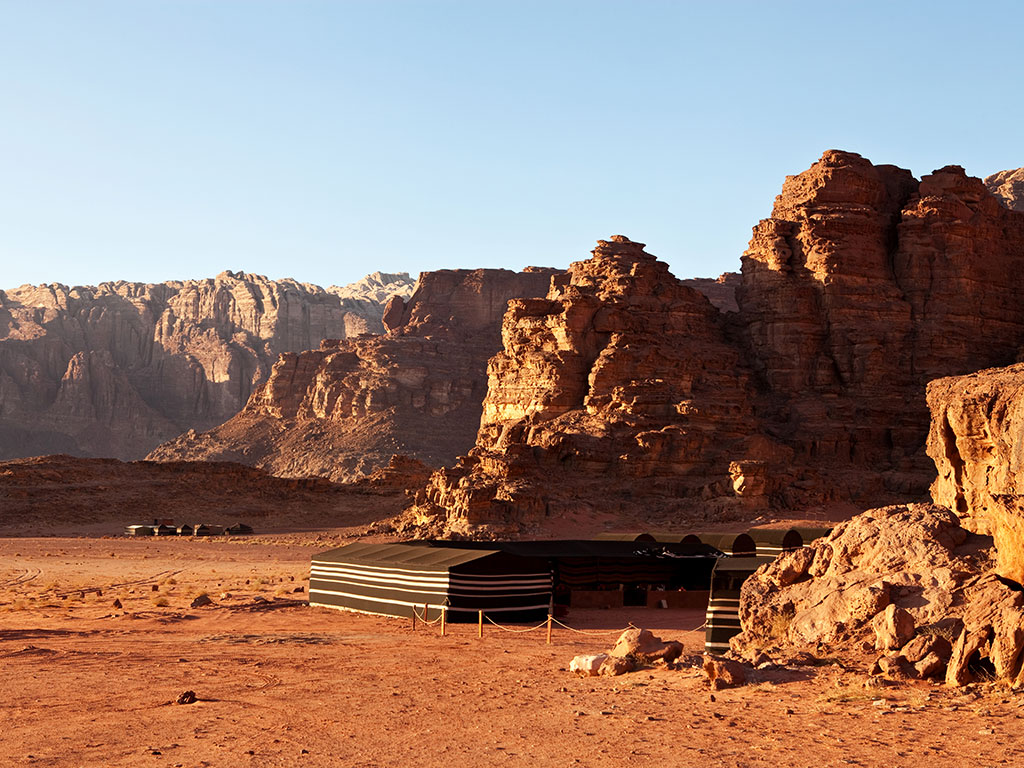 A Bedouin-style camp in the Wadi Rum Desert