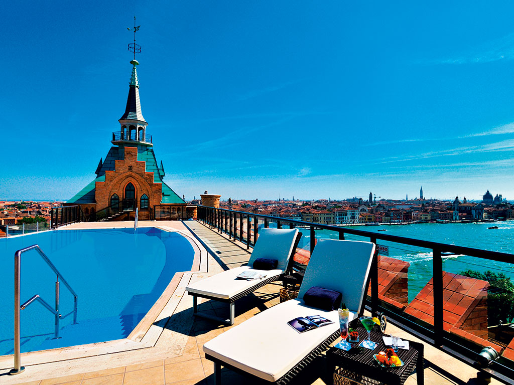 The Hilton Molino Stucky Venice offers gorgeous views over the old city