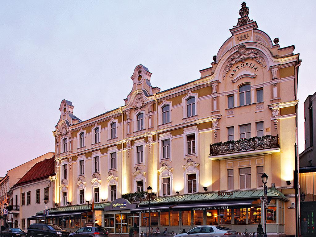 The facade of the Radisson Blu Astorija Hotel, in Vilnius, Lithuania