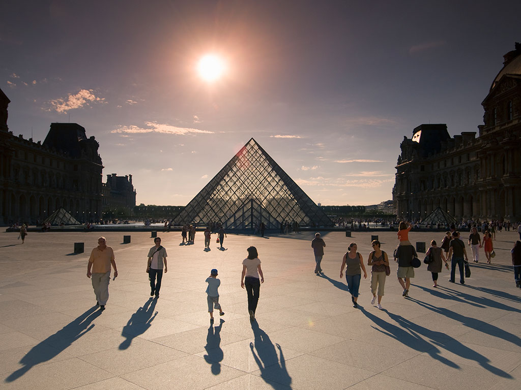 Louvre in Paris at sunset