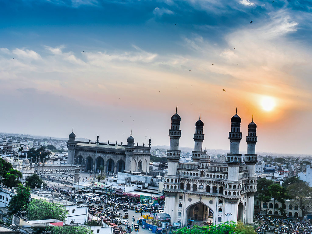 A view of the Charminar Mosque in Hyderabad, India