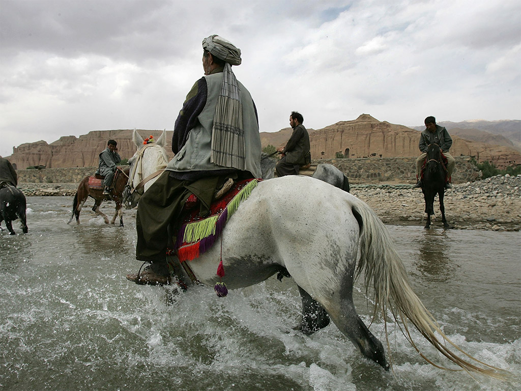 A testy band of Afghan horsemen challenged Hanbury-Tenison on his travels. Luckily he was able to build rapport with them