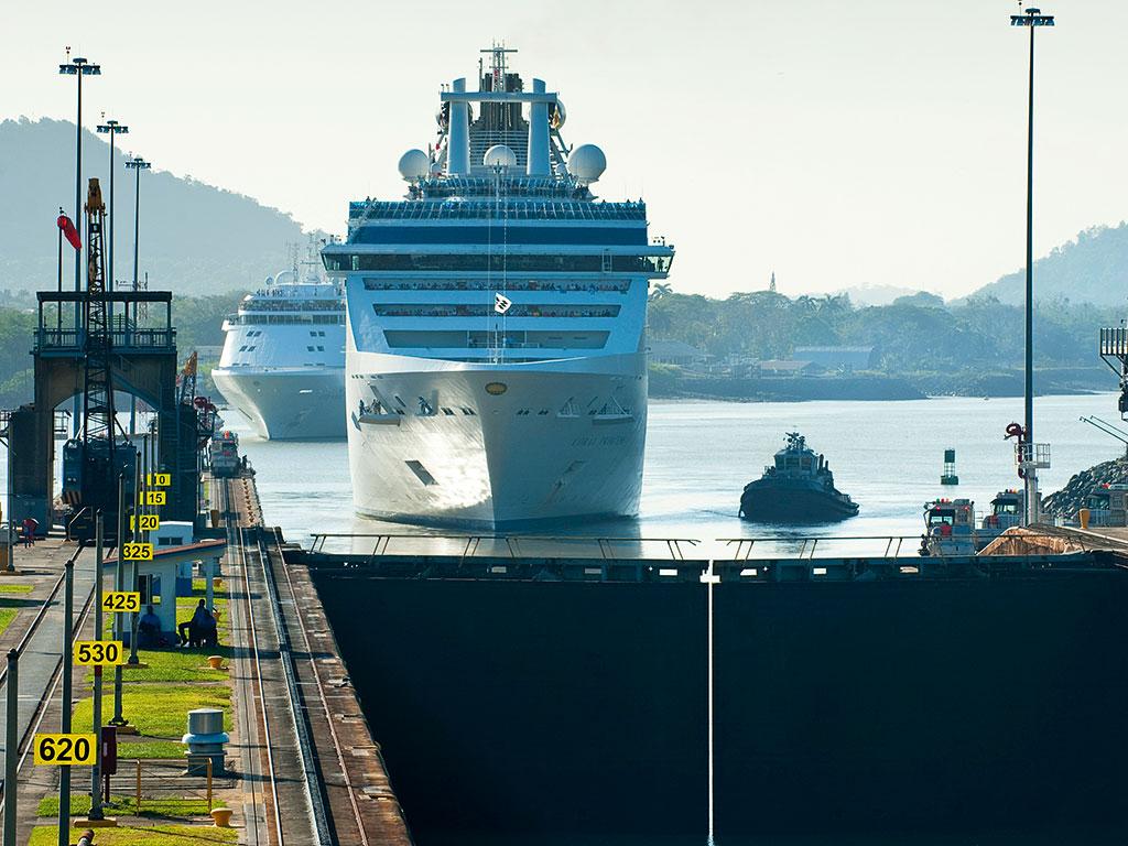 Cruise ship at Miraflores Locks, Panama Canal