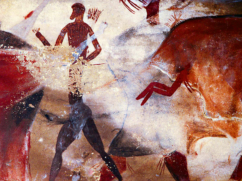 of a cave in South Africa's Drakensberg mountains. The paintings may have been made at least 2,000 years ago. The images are typical of scenes involving shamanism