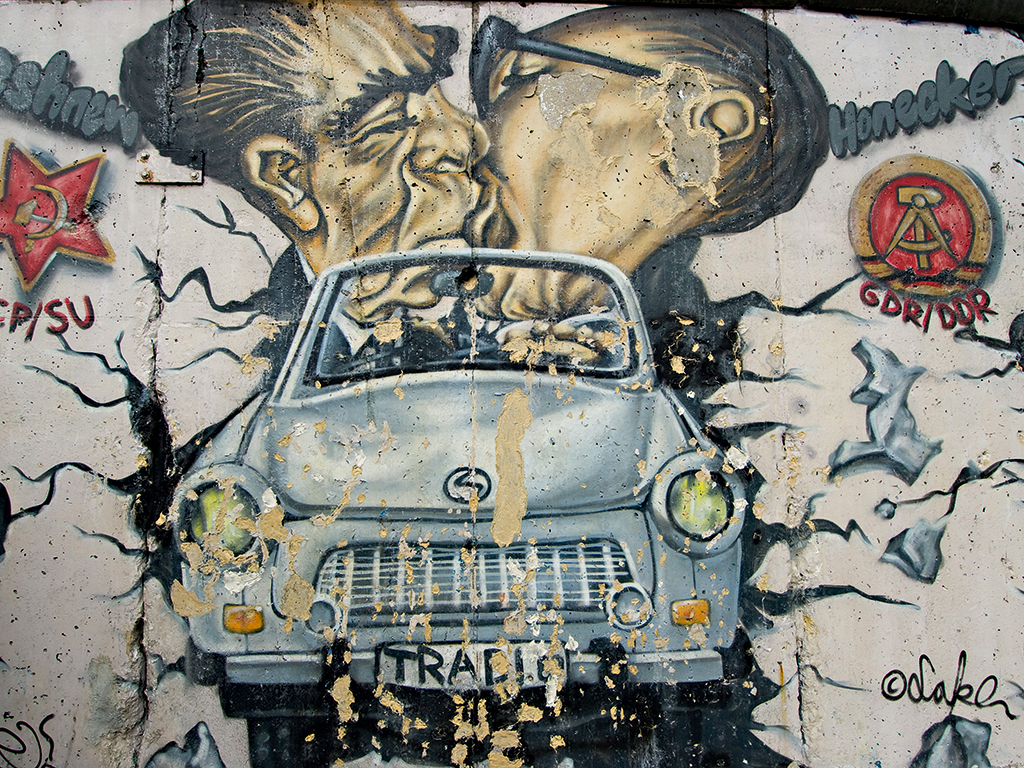 One of the most iconic pieces of art on the Berlin Wall