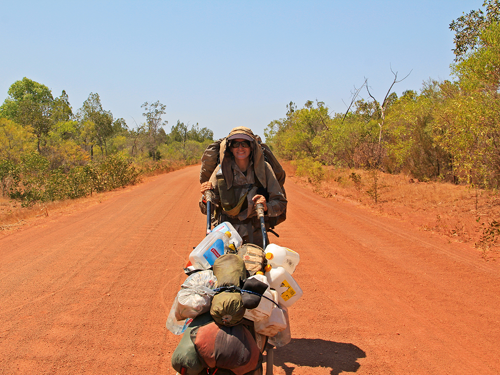 Sarah arriving at her resupply point in north Australia after two months in Arnhem Land, Crocodile Country