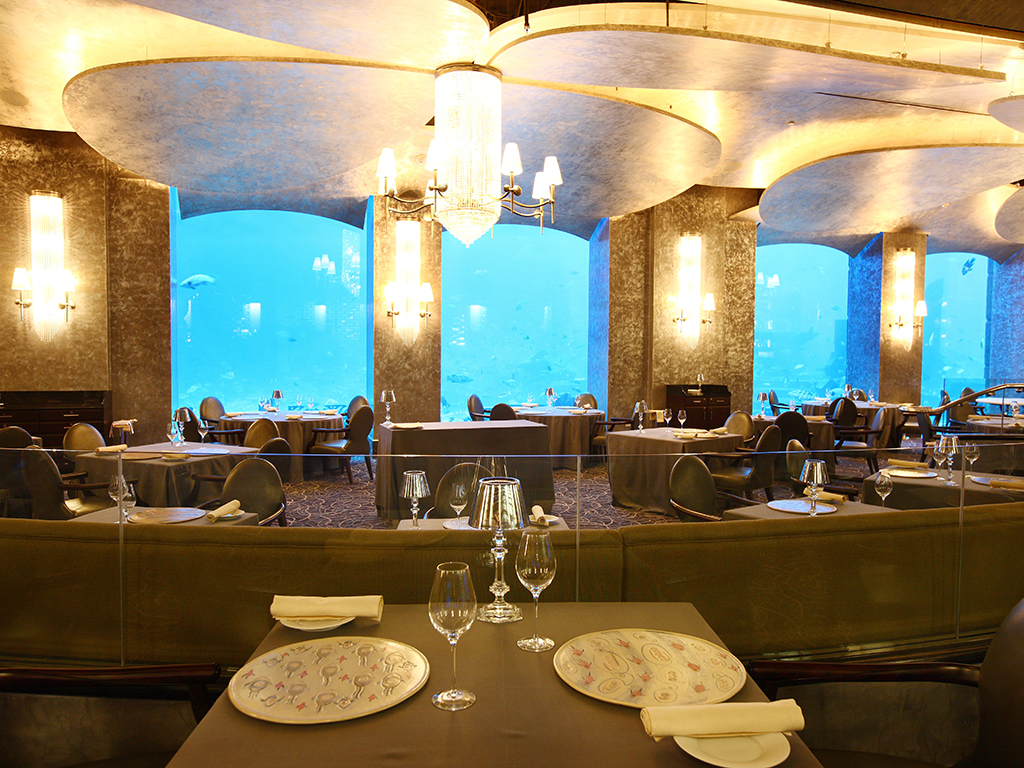 The Ossiano Fish Restaurant at the Atlantis Hotel, Dubai. The establishment was awarded Time Out's Best Seafood Restaurant in 2013 and 2014
