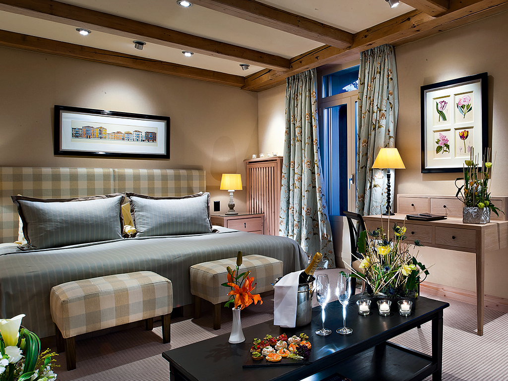 A bedroom at the Gstaad Palace. The hotel offers guests world-class comfort, and also has a number of facilities for hosting events