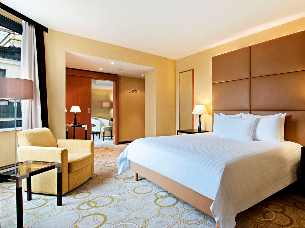 A King guestroom at Hilton Prague