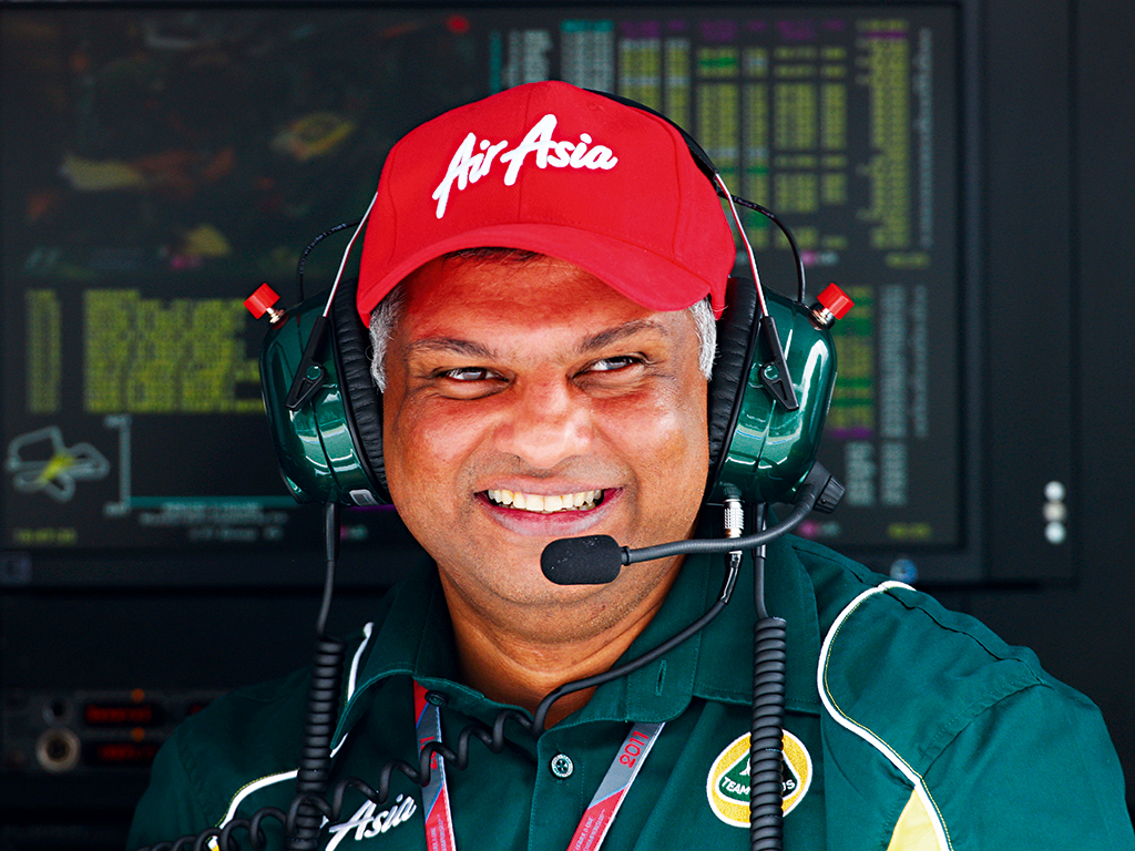 Tony Fernandes on the pitwall during a practice race for the Malaysian F1 Grand Prix. The AirAsia CEO has had a difficult time of late, after the airline's flight QZ8501 crashed in December 2014