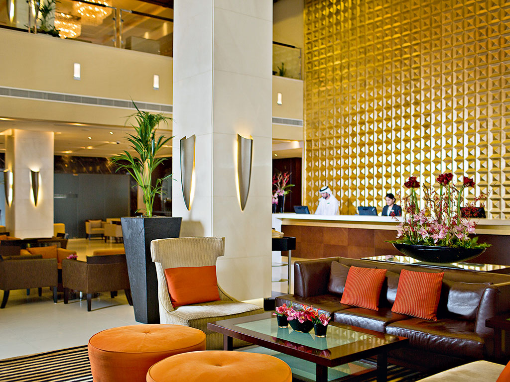 The welcoming lobby at Media Rotana Dubai