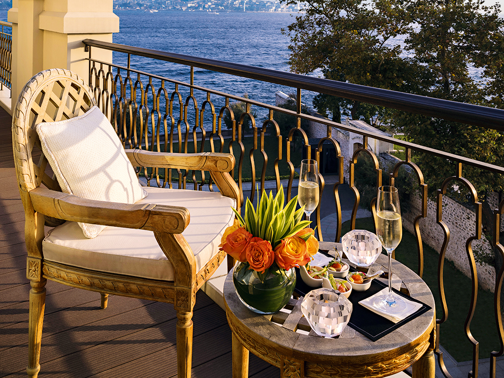 The hotel offers magnificent views of Istanbul and the Bosphorus