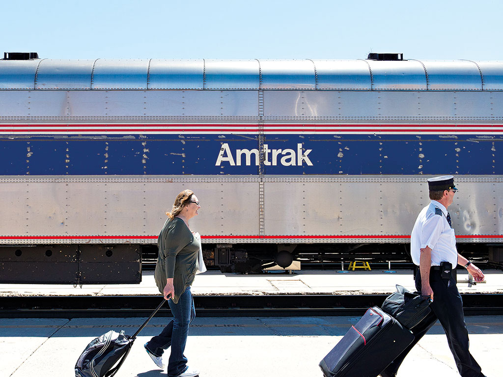 An Amtrak train in the US. As a mode of transport, trains are rapidly declining in popularity with Americans