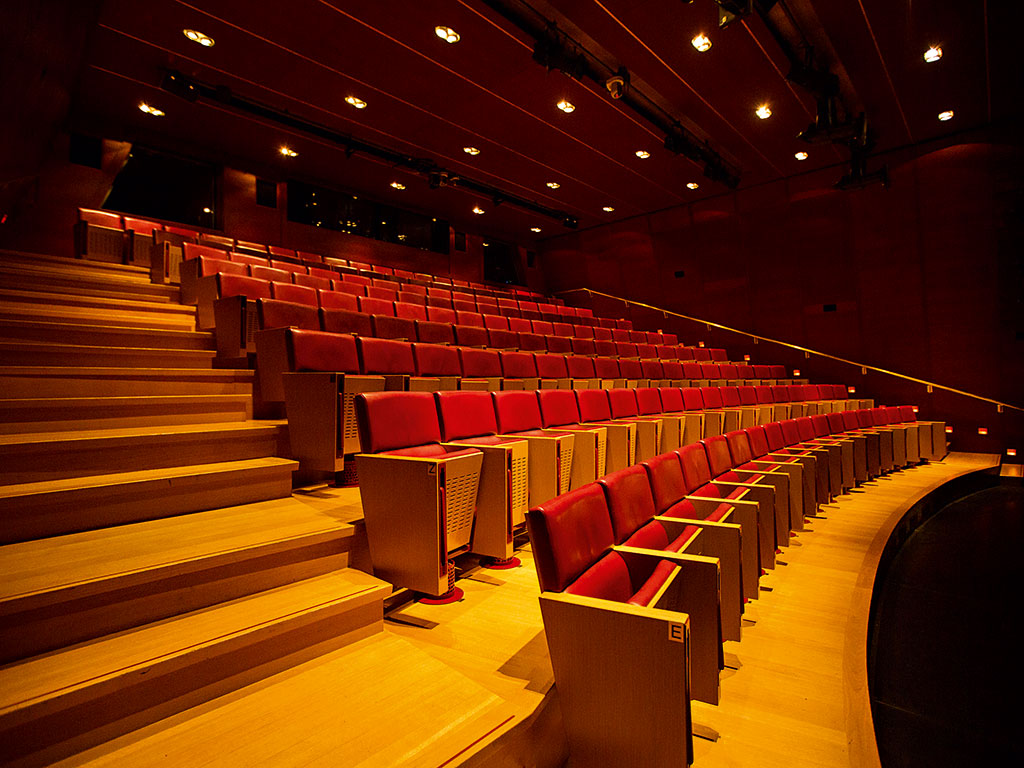 The Upper Stage auditorium at the Onassis Cultural Centre seats 220 people for smaller events and presentations