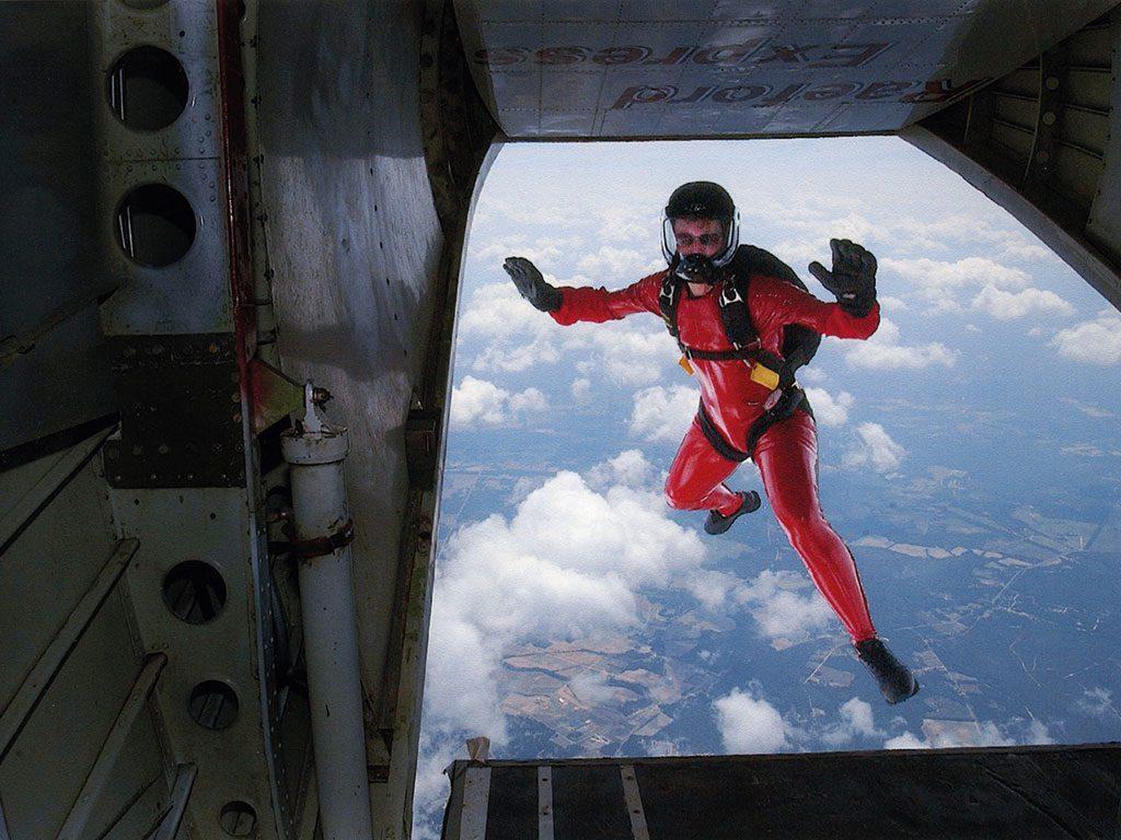 Stearns jumps from an aeroplane on one of her skydives