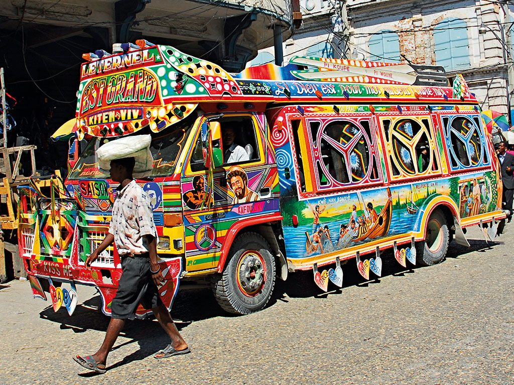 One of Haiti's famously colourful buses