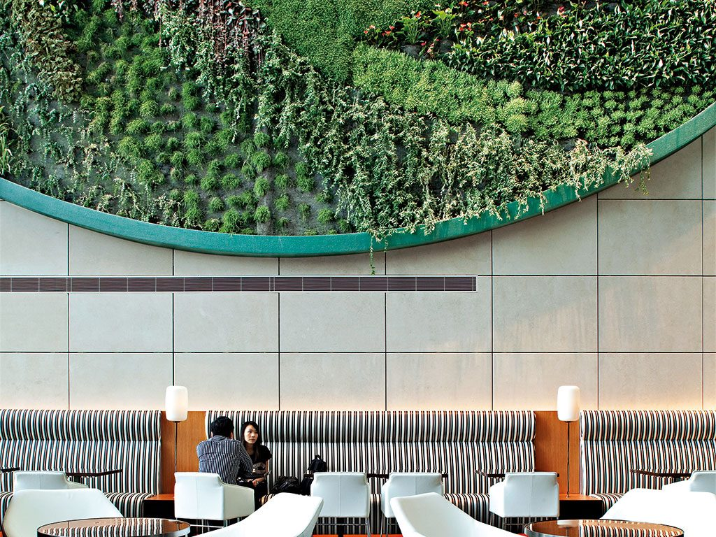 Hotel ICON's unique vertical garden was designed by Sir Terrence Conran