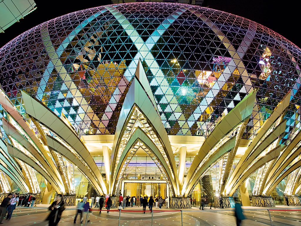 The dome of Grand Lisboa, a 47-floor hotel and casino in Macau