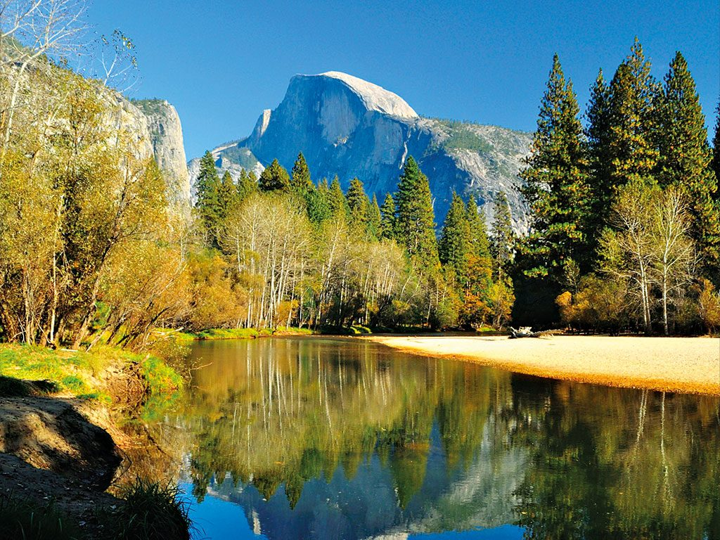 Yosemite National Park is known for its giant sequoia trees and dramatic waterfalls