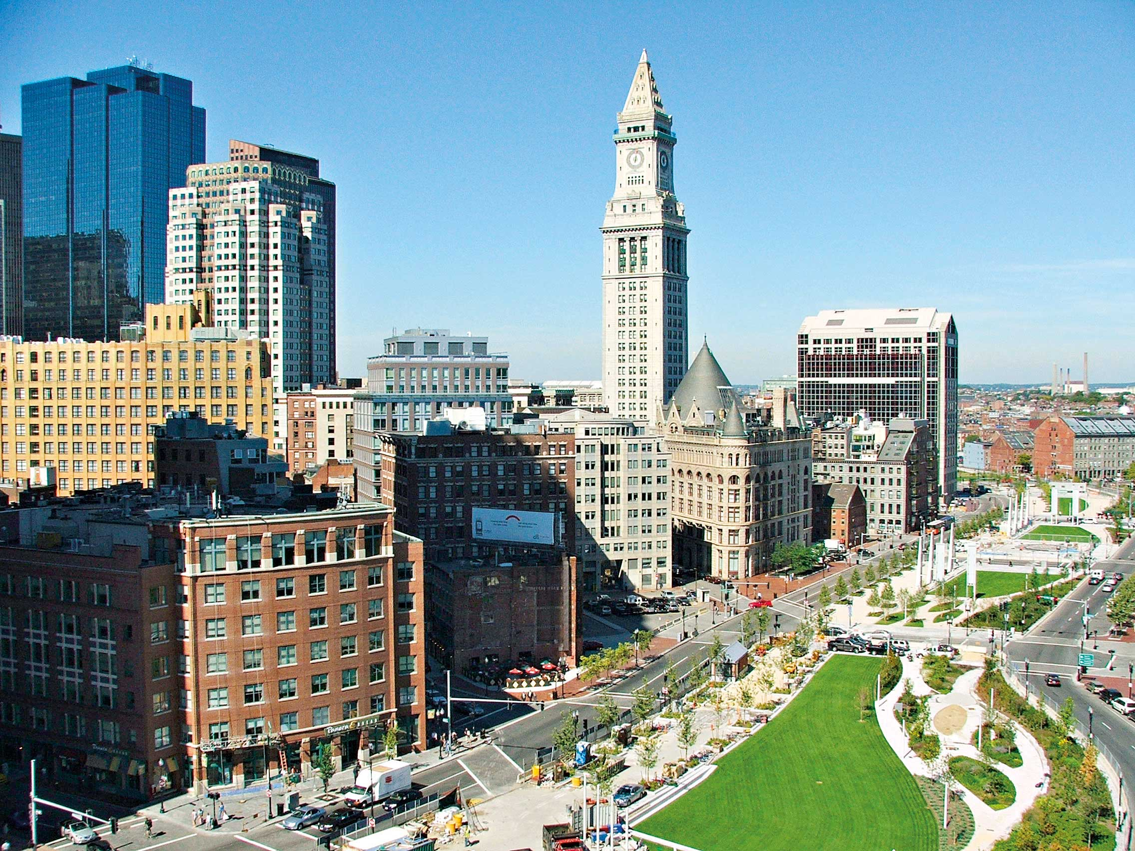 Boston's skyline includes the 469ft Custom House Tower