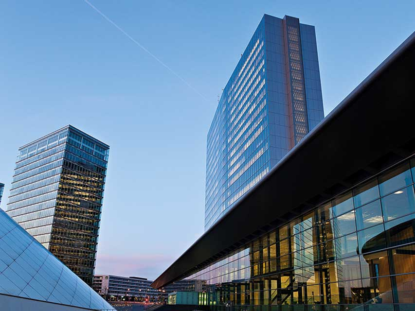 The elegant ECCL building which offers panoramic views of Luxembourg