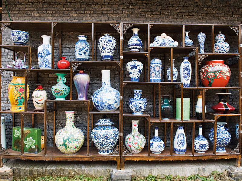 A display of vases at the Qing and Ming Ancient Pottery Factory
