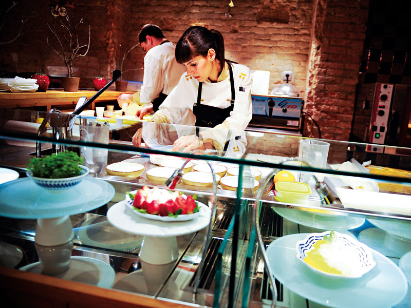 A chef prepares for service at Barcelona's Tickets restaurant