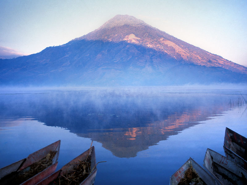 Lake Atitlán, the deepest lake in Central America, was formed out of a massive volcanic crater and is one of the most impressive sights on the subcontinent