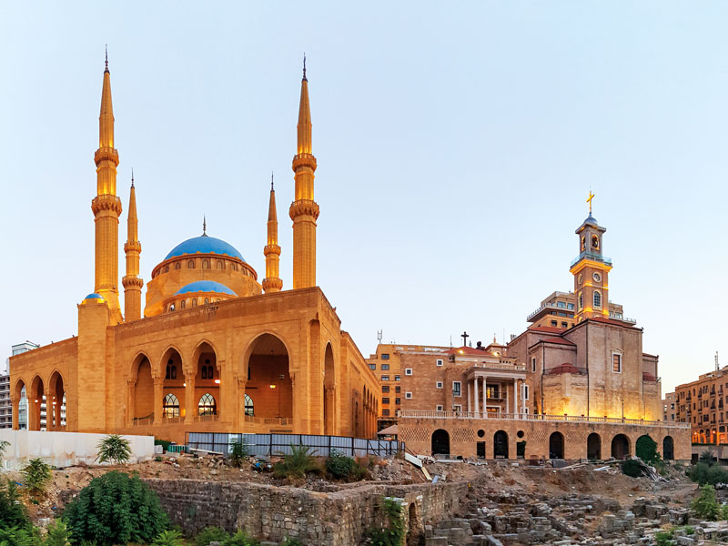 Mohammad al-Amin mosque and St George Maronite cathedral stand beside each other. Beirut is dotted with such examples of the many religions and cultures that co-exist in the city