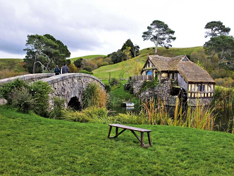 The set of Hobbiton, which appears in The Lord of the Rings and The Hobbit trilogies, is open to the public in New Zealand