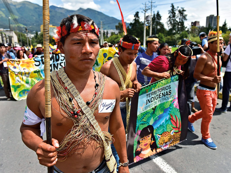 In 2014, Huaorani natives marched through Quito in an effort to ban oil drilling in Yasuni National Park