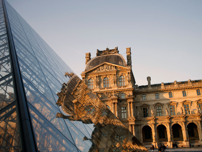 The Louvre Pyramid in the main courtyard of the Louvre Palace, Paris. The structure celebrated the 30th anniversary of its inauguration in March of this year